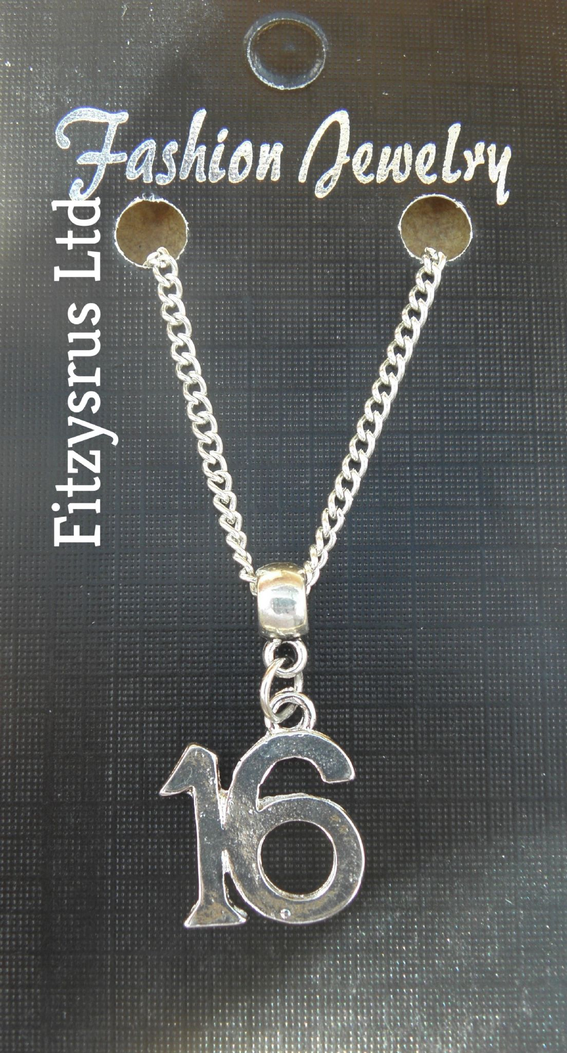 "18"" 24"" Inch Chain Necklace & 16th Birthday Gift Number 16 Sixteen Pendant - New"
