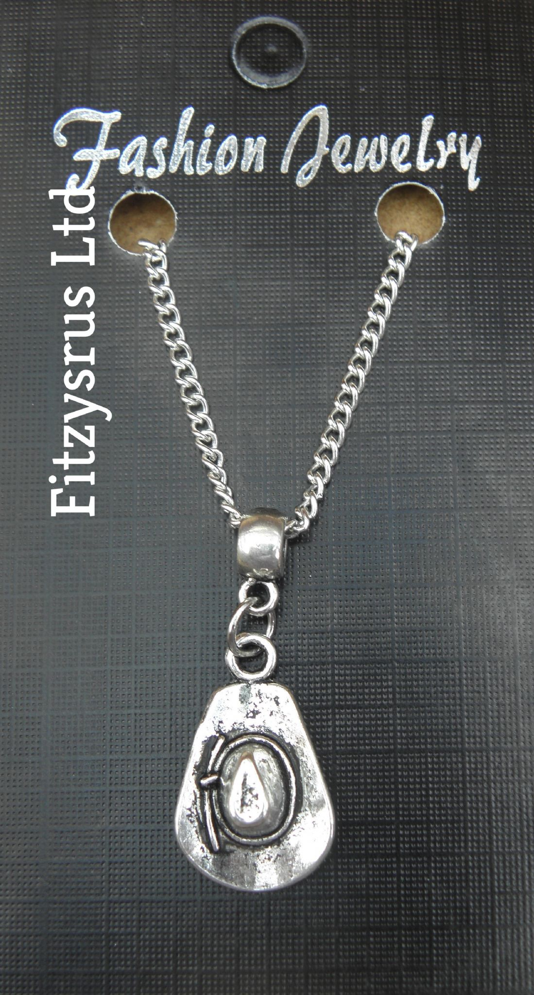 "18"" 24"" Inch Chain Necklace & Cowboy Hat Pendant Country & Western Rodeo Gift"