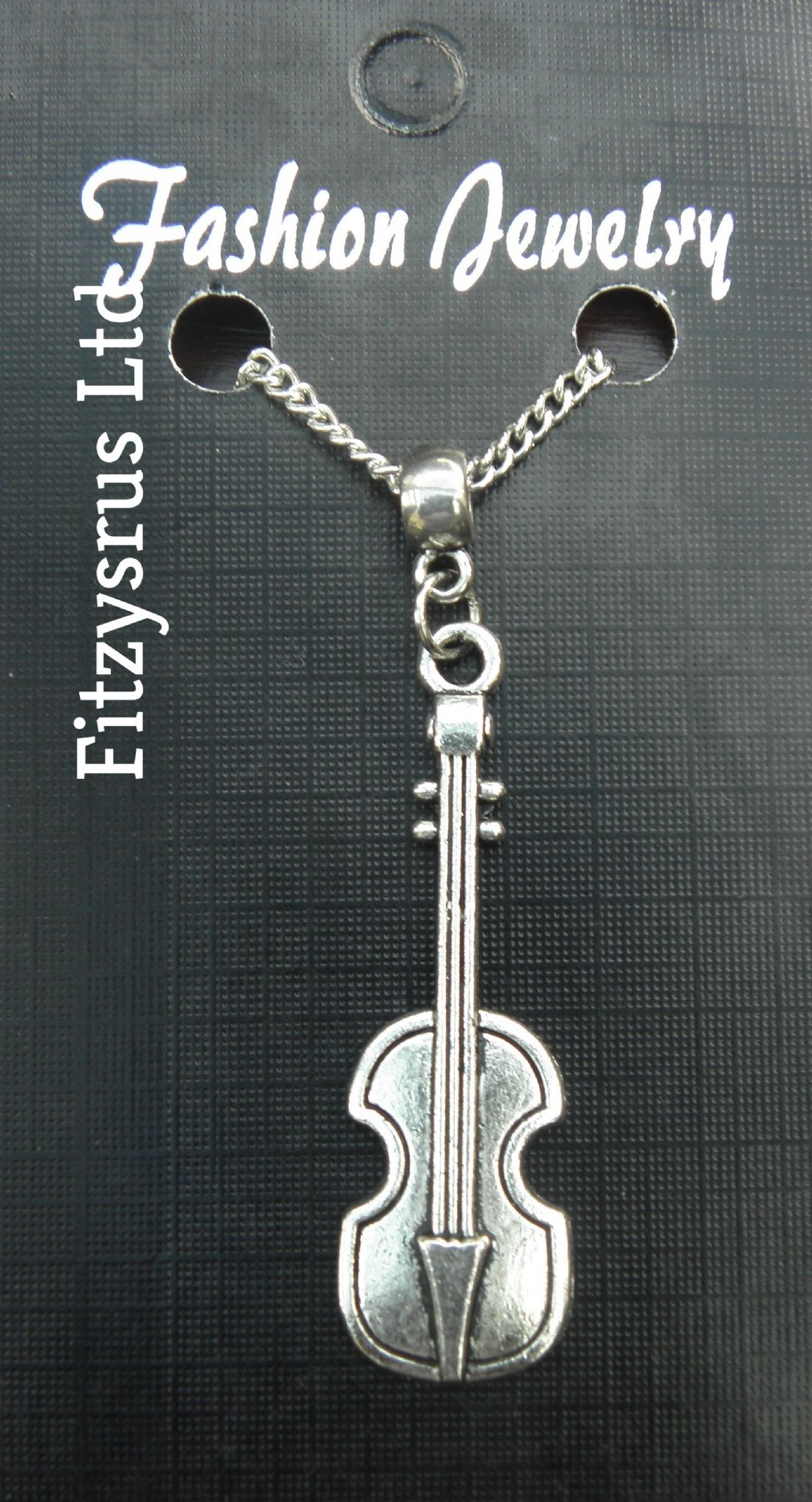 "18"" 24"" Inch Chain Necklace & Violin Pendant Charm Musician Fiddle Gift Souvenir"