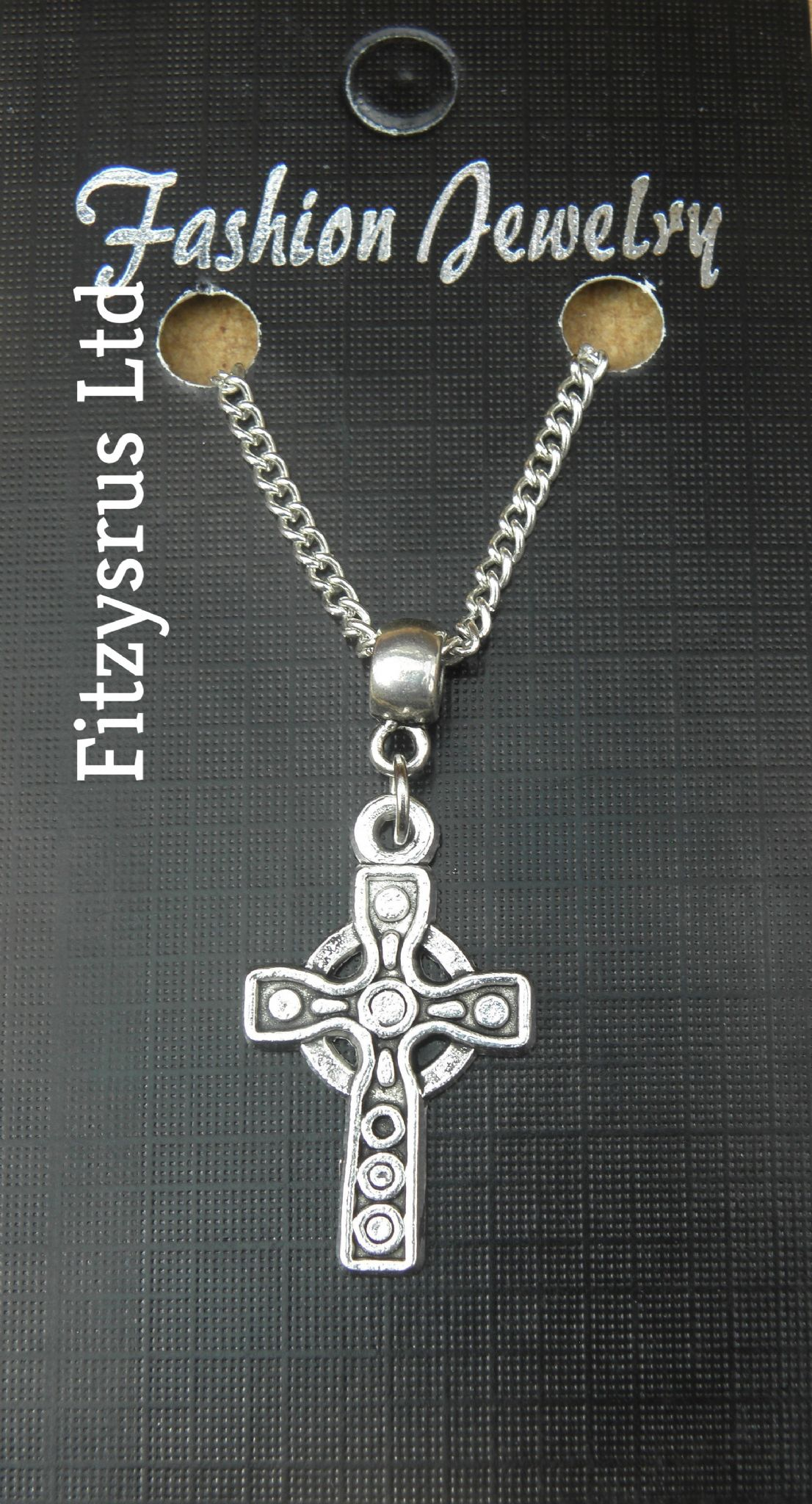 "18"" 24"" Inch Necklace & Celtic Cross Pendant Kroaz Geltek Charm Gaelic Celt New"