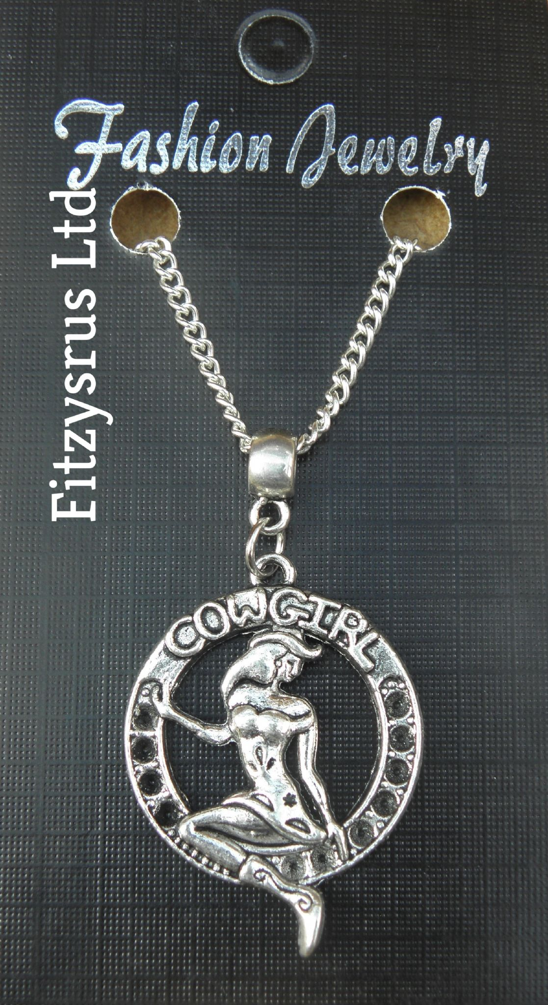"18"" 24"" Inch Necklace & Cowgirl Pendant Country & Western Rodeo Cowboy Gift New"