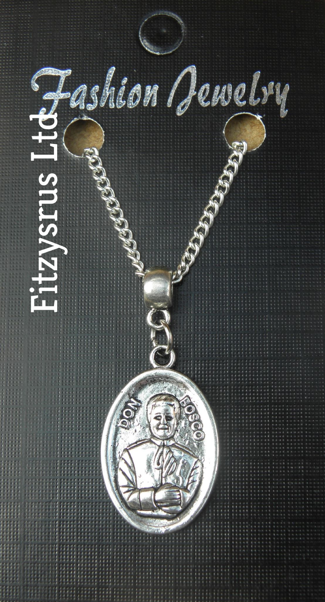 "18"" 24"" Inch Necklace & Don Bosco Charm Saint St John Bosco Religious Pendant"