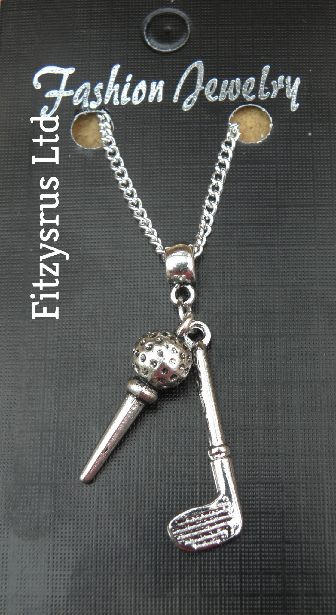 "18"" 24 Inch Necklace & Golf Club Ball & Tee Pendant Charm Golfer Golfing Golfers"