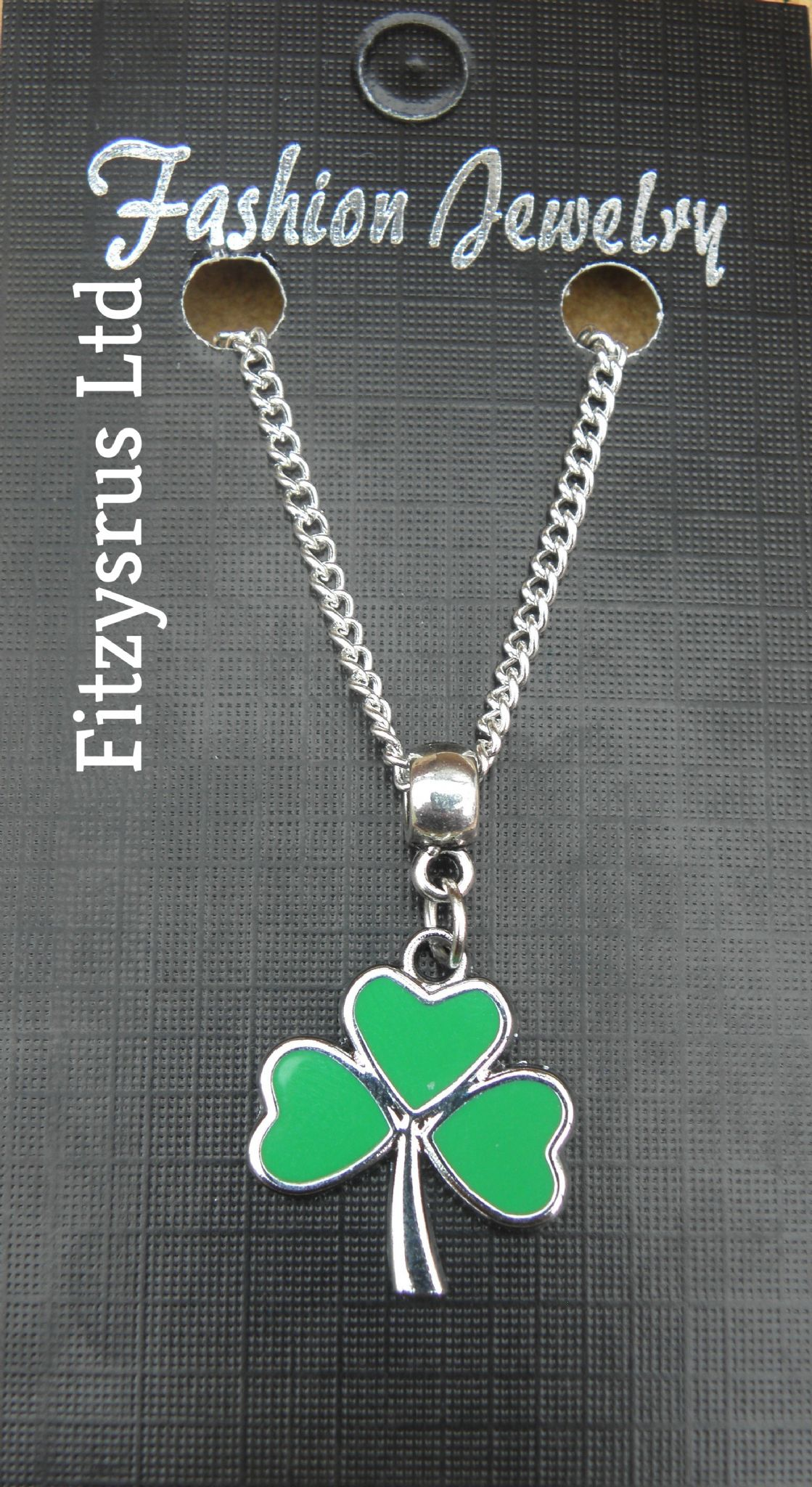 "18"" 24"" Inch Necklace & Irish Shamrock Pendant Charm Saint St Patricks Day Gift"