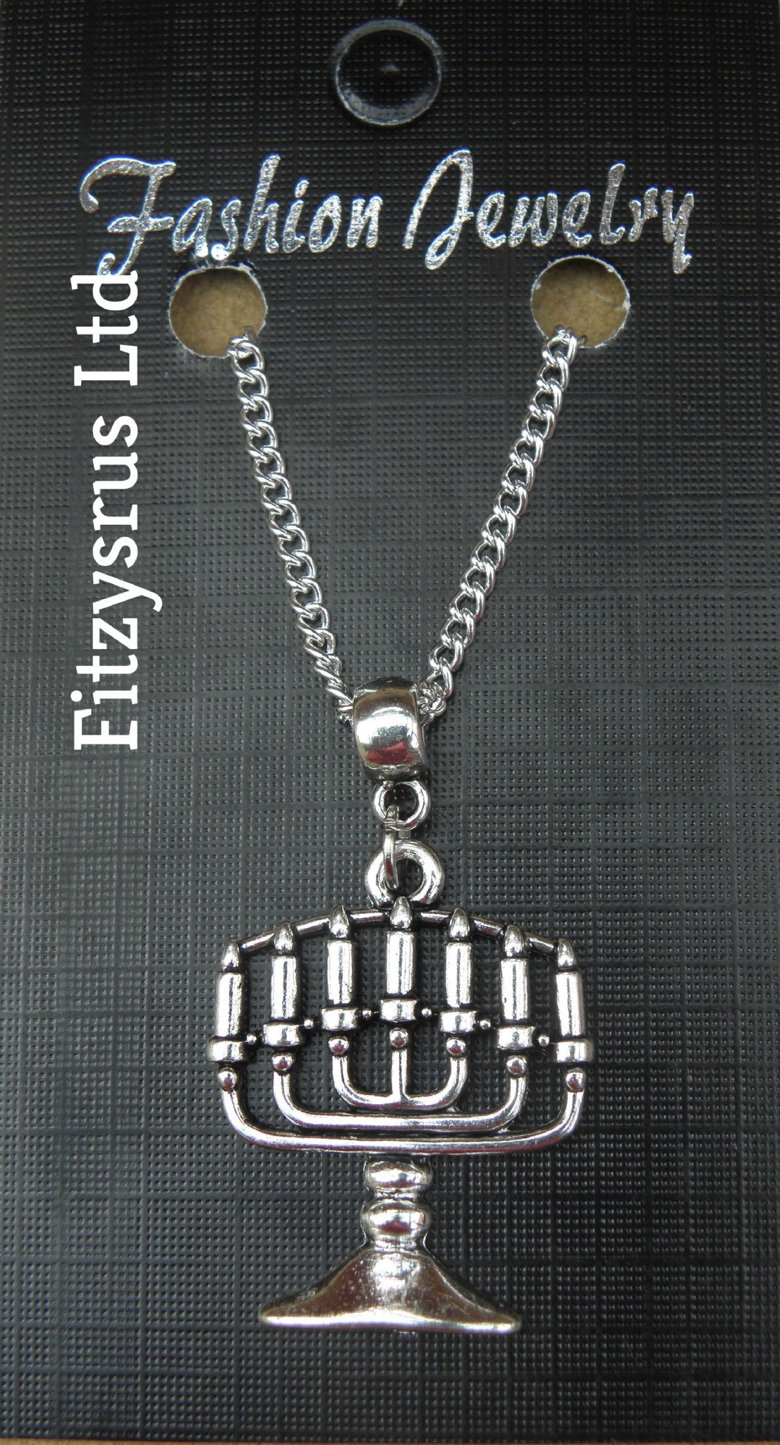 "18"" 24 Inch Necklace & Menorah Hanukkah Pendant candelabrum Jew Jewish Judaism"
