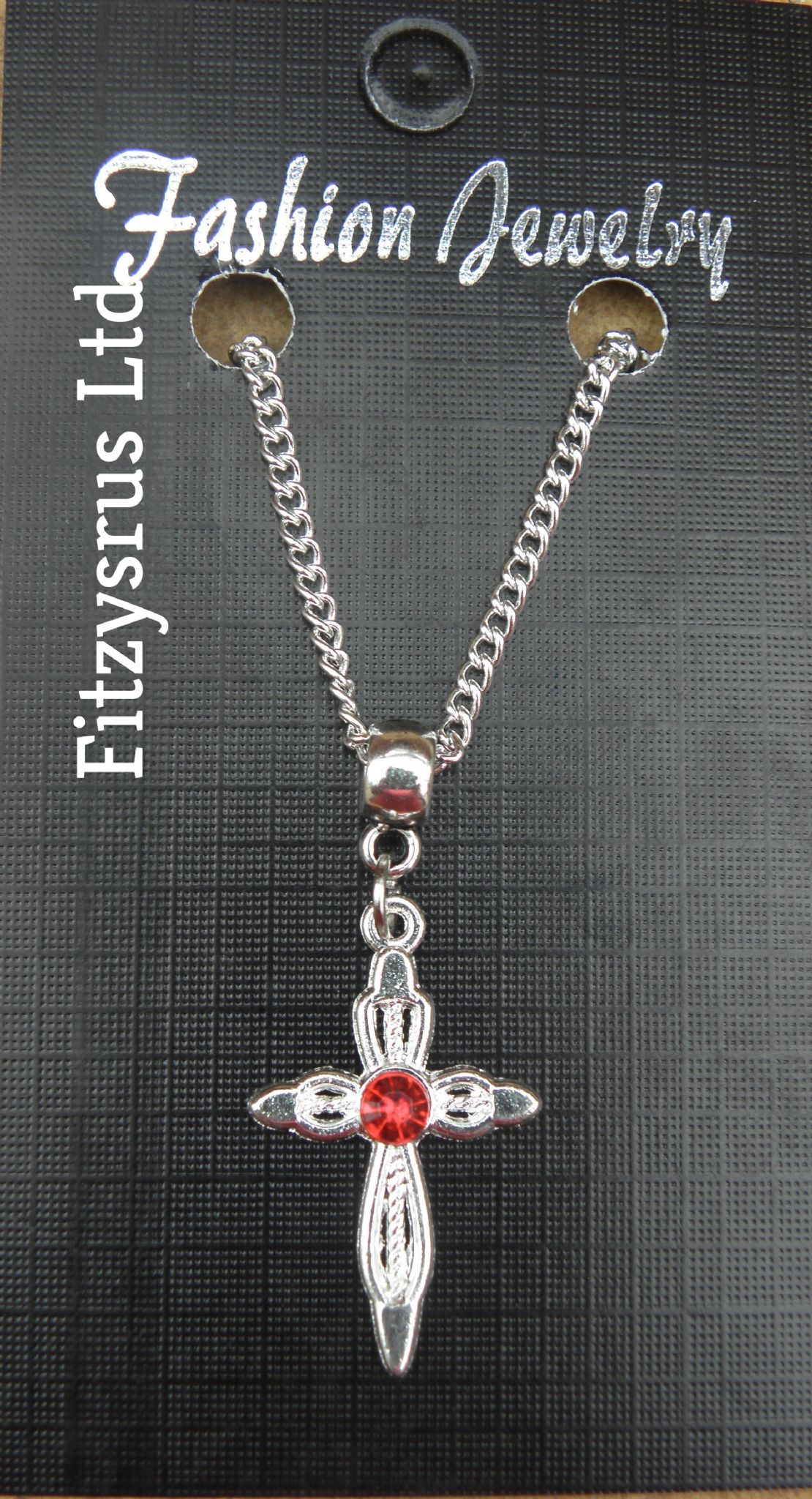 "18"" 24 Inch Necklace & Red Silver Colour Holy Cross Pendant Religious Christian"