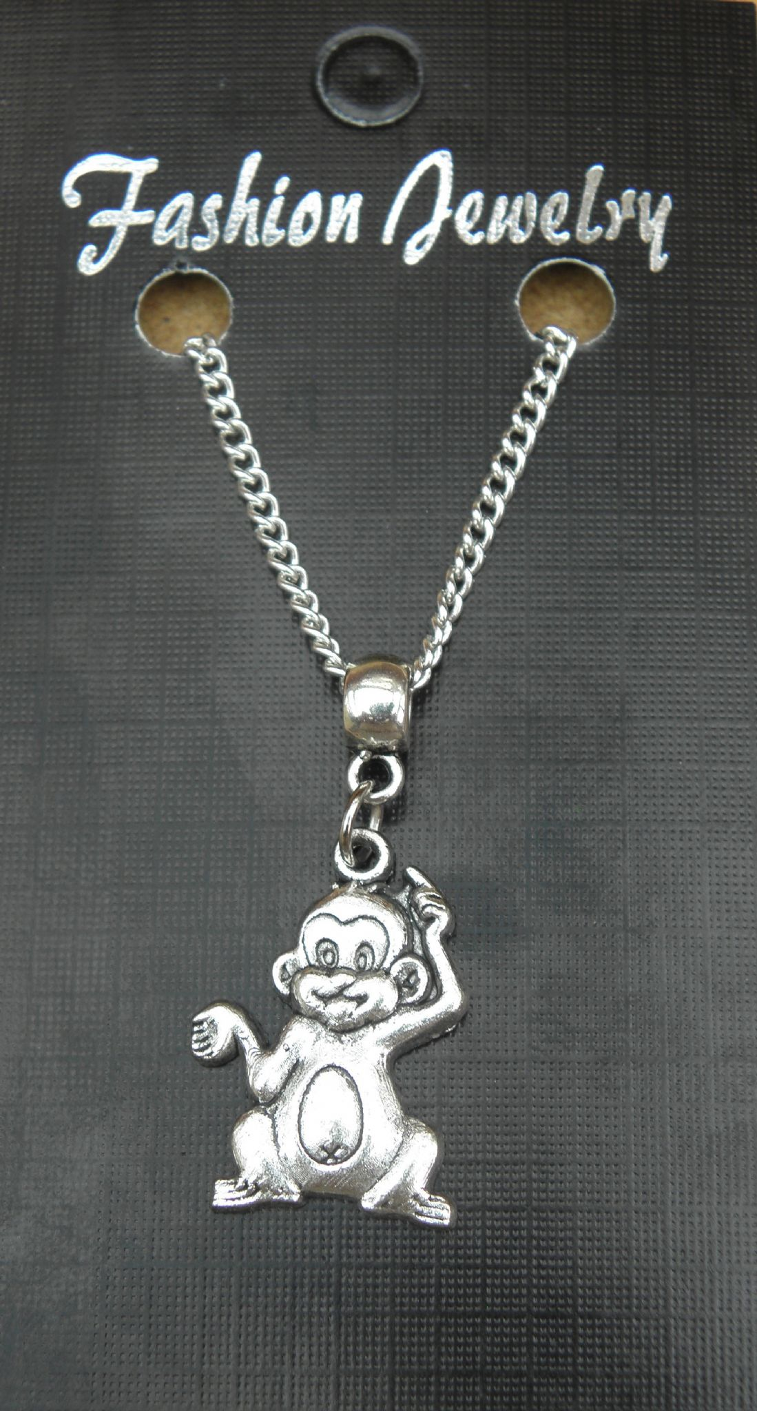 "18"" or 24 Inch Chain Necklace & Cheeky Monkey Pendant / Charm - Primate Gift"