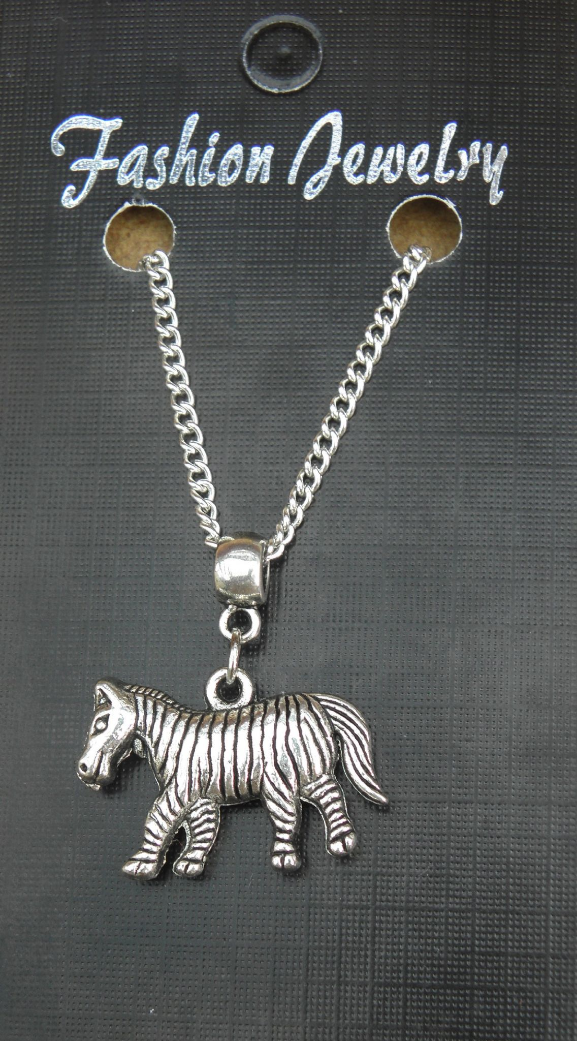"18"" or 24 Inch Chain Necklace & Zebra Pendant Charm Animal Lovers Gift Souvenir"