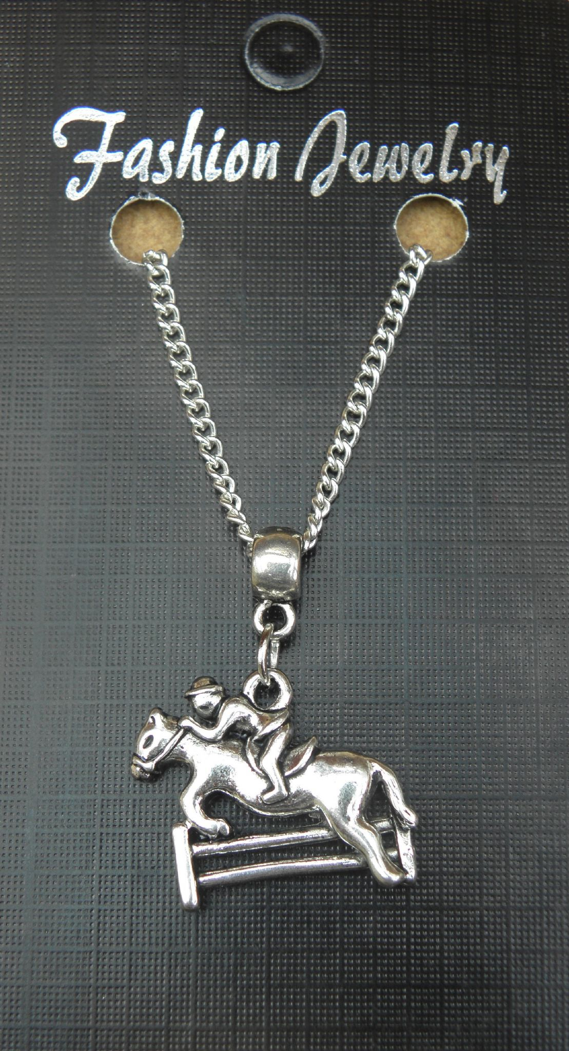 "18"" or 24"" Necklace & Jockey Show Horse Pendant Jumping Sticks Charm Racing Race"