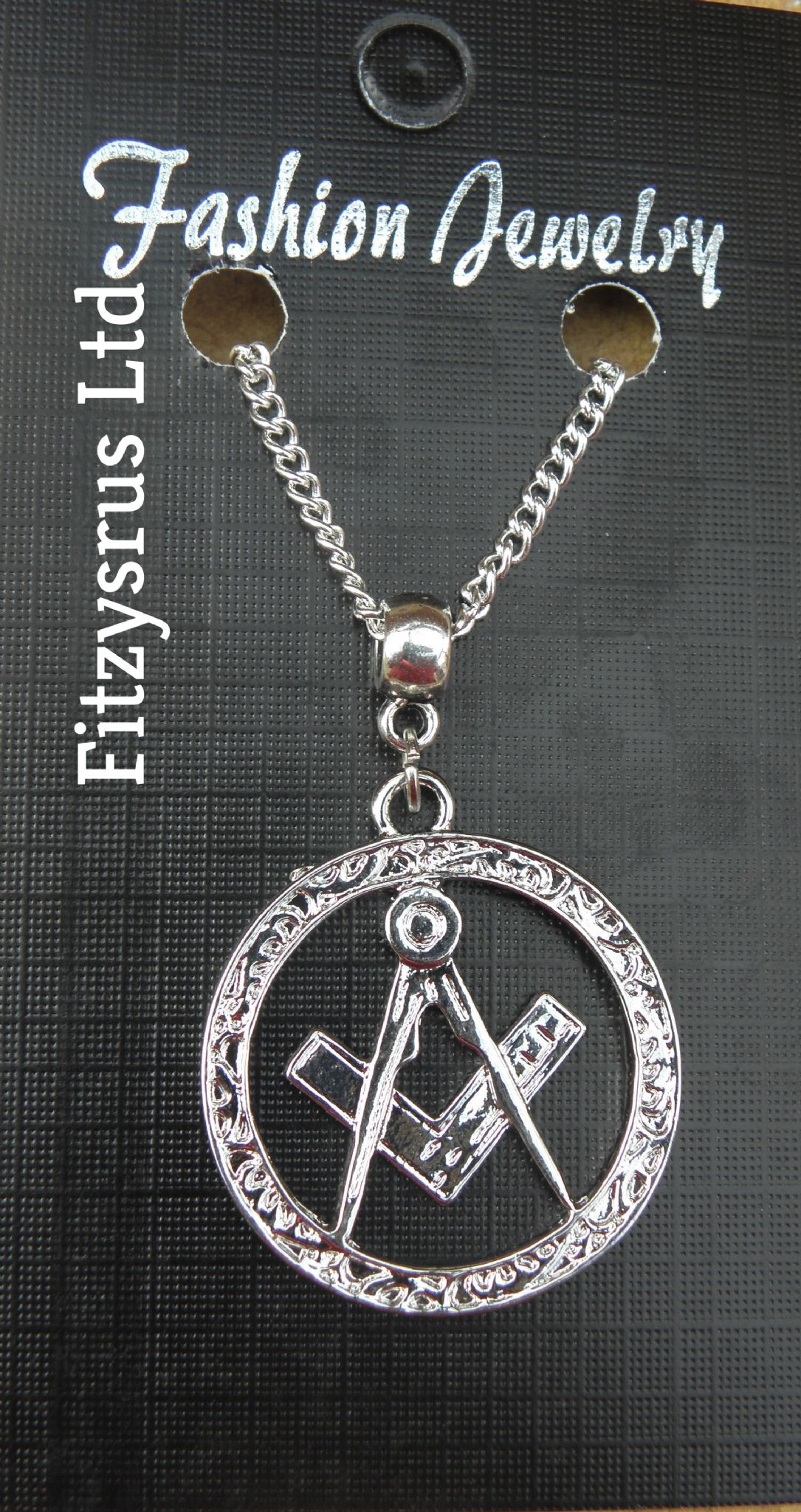 "18 or 24"" Necklace & Masonic Square & Compass Charm Freemason Mason Freemasonary"