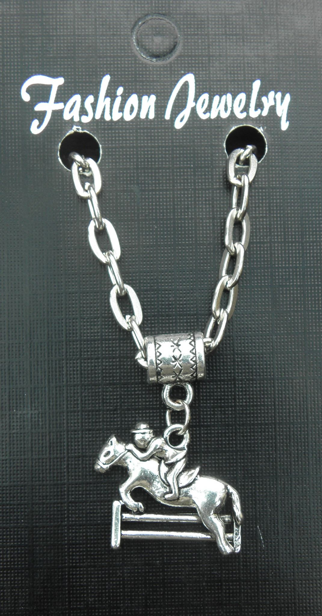 "20"" or 24"" Necklace & Jockey Show Horse Pendant Jumping Sticks Charm Racing Race"