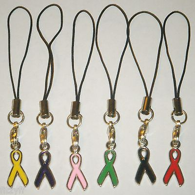 Awareness Ribbon Mobile Strap / Handbag Charm Black Green Pink Purple Red Yellow