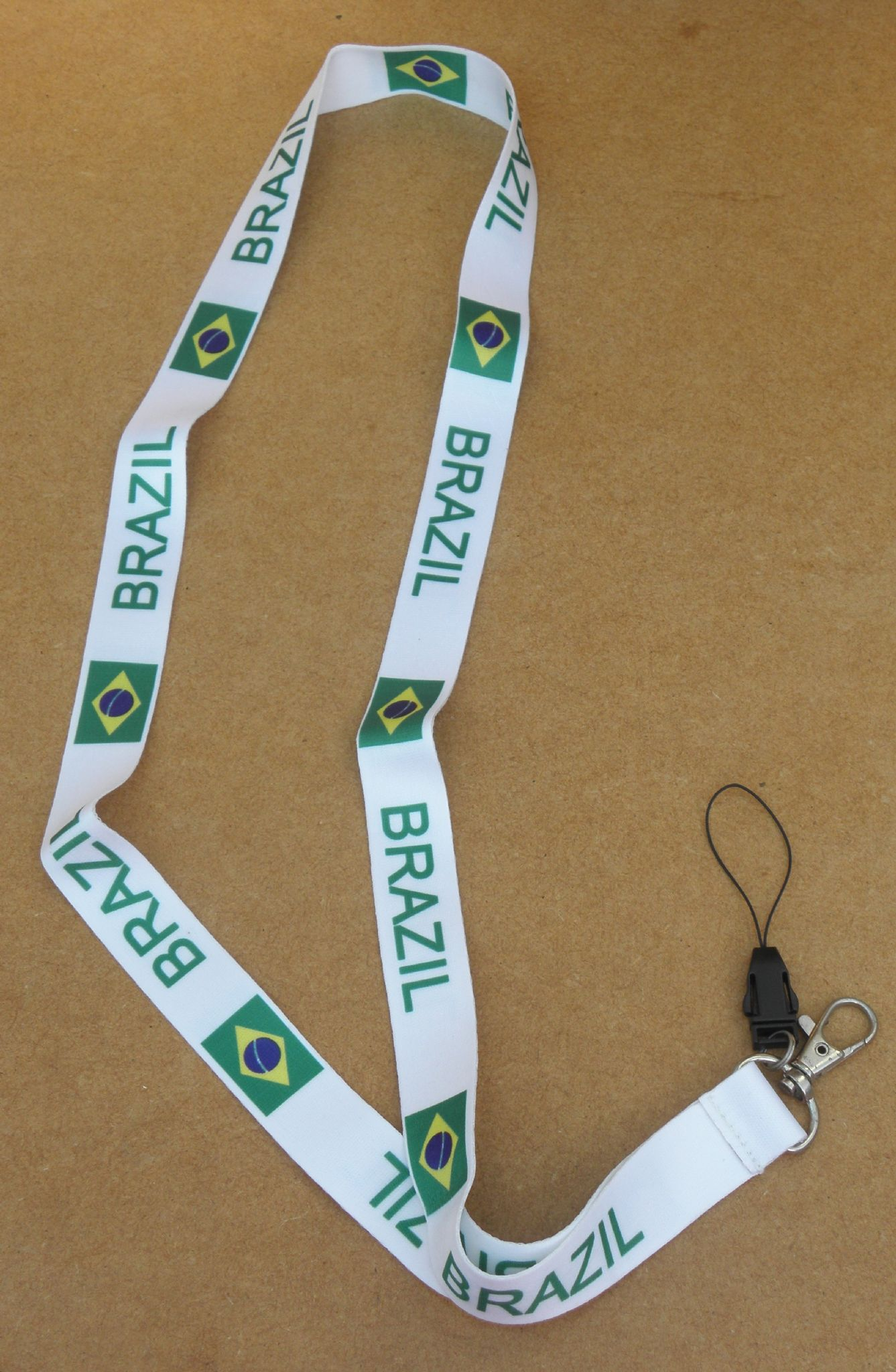 Brazil Brasil Country Flag Lanyard Neck Strap 4 Mobile MP3 IPOD Conference Pass
