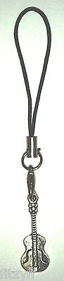 Guitar Mobile Phone Strap / Metal Handbag Charm - New