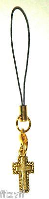 Holy Religious Cross Mobile Phone / Handbag Strap - Gold-tone Christian Gift New