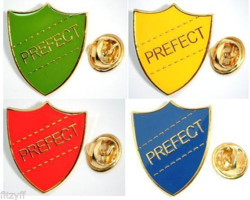 School Prefect Shield Metal Lapel Pin Badge Brooch Red Blue Green or Yellow