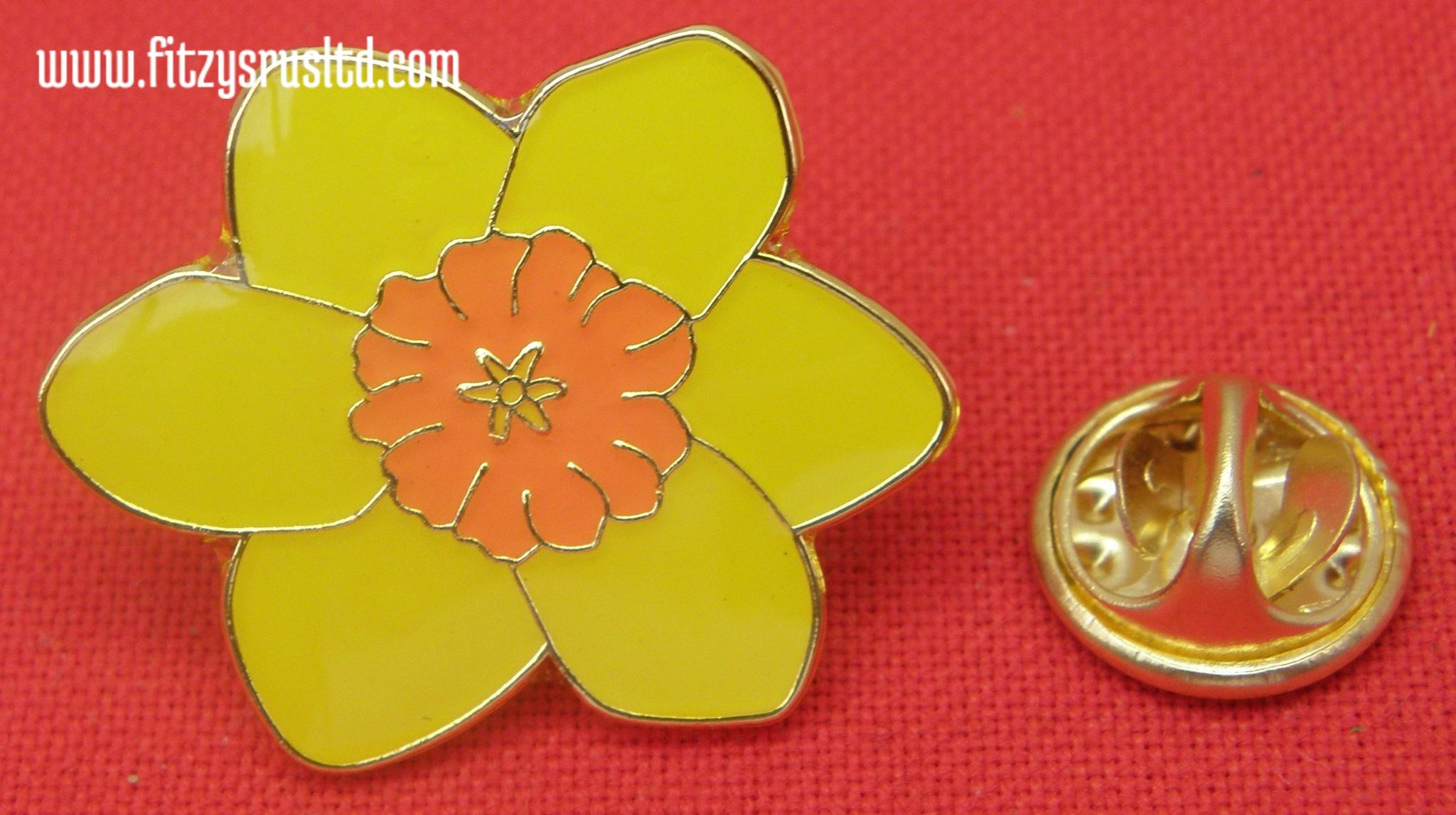 Yellow daffodil lapel hat tie pin badge flower st davids day david pin badges mightylinksfo